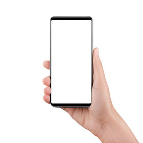 Touch screen mobile phone, in hand with