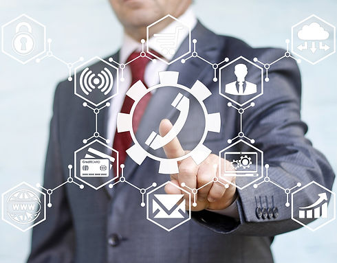 businessman touched service handset icon