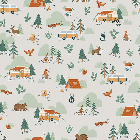 """Camp Woodland """"Main in Off White"""" for Riley Blake Designs"""