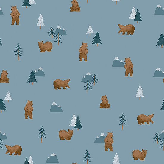 """Camp Woodland """"Grizzly Bears in Denim"""" for Riley Blake Designs"""