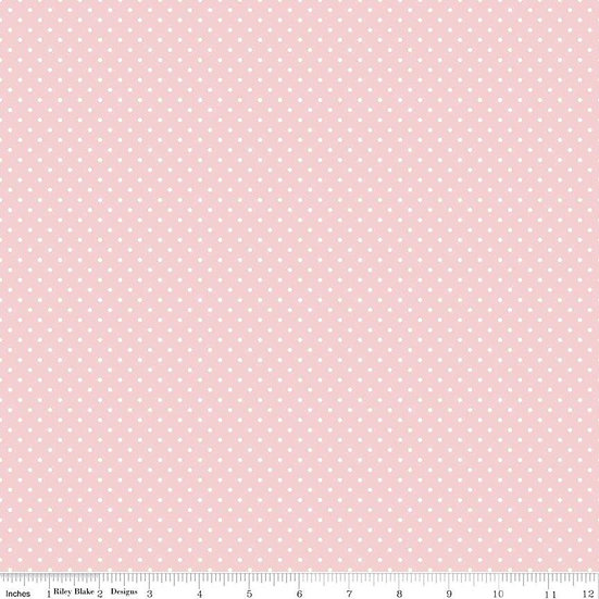 Swiss Dots White Dots on Baby Pink Fabric by the Yard