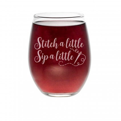 "Quilt Happy ""Stitch A Little"" 21oz Stemless Wine Glass"