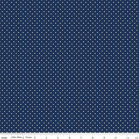 Swiss Dots White Dots on Navy Fabric by the Yard