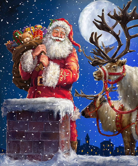 """Christmastime is Here """"Up On The Housetop Panel"""" by Riley Blake Designs"""