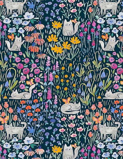 """Creative Cats """"Kitty Garden"""" for Dear Stella - Fabric by the Yard"""