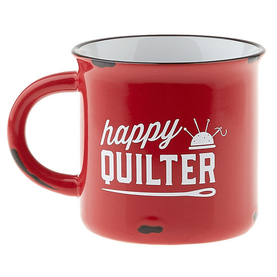 Happy Quilter Camp Style Mug in Red
