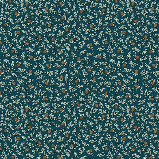 """Camp Woodland """"Pine Cones in Navy"""" for Riley Blake Designs"""