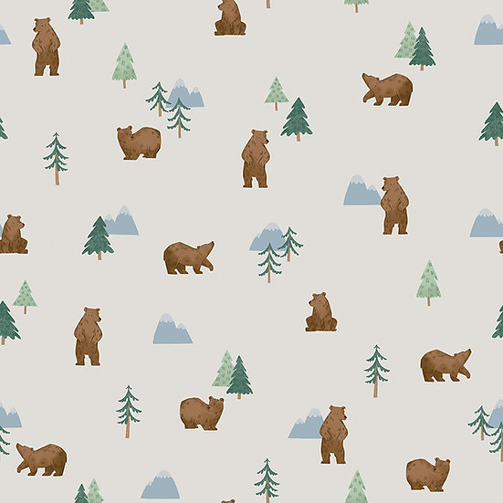 """Camp Woodland """"Grizzly Bears in Off White"""" for Riley Blake Designs"""