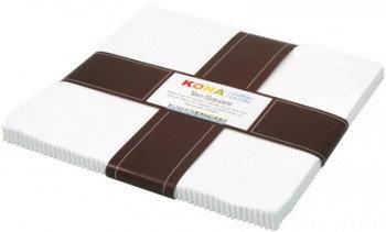"""White Kona Cottons 10"""" Squares - 42 Pieces"""