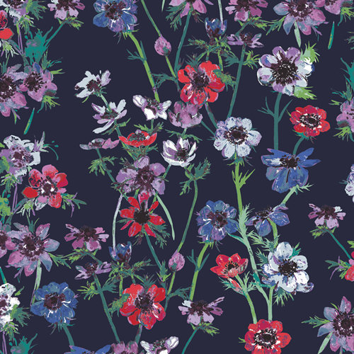 "Aquarelle ""Anemone Study Midnight"" AGF - Fabric by the Yard"