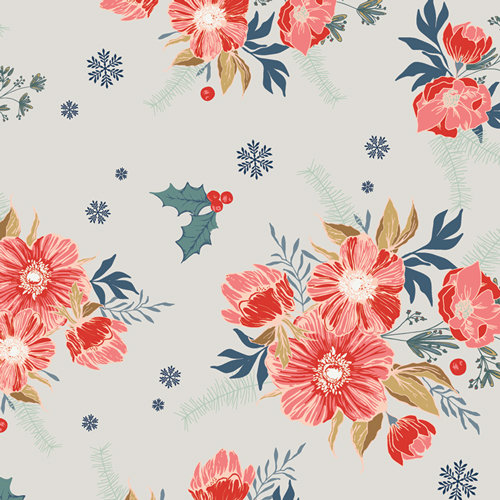 "Cozy & Joyful ""Frosted Roses"" Designed by Maureen Cracknell Fabric by the Yard"