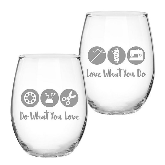 "Quilt Happy ""Love What You Do"" 21oz Stemless Wine Glass"