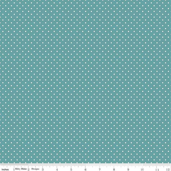 Swiss Dots White Dots on Teal Fabric by the Yard