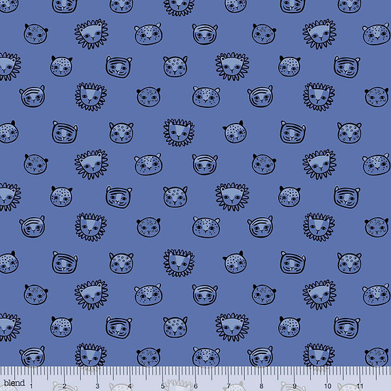 Feline Faces in Blue Fabric by the Yard