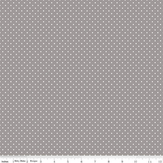 Swiss Dots White Dots on Gray Fabric by the Yard