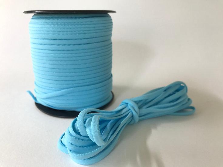 "Light Blue Banded Stretch Elastic 1/6"" x 5 yards"