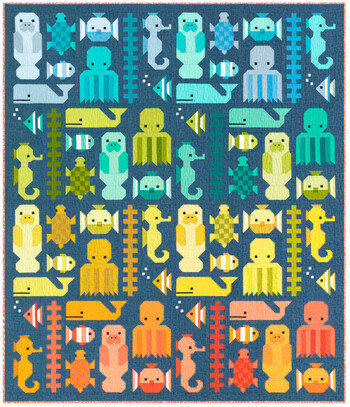 Awesome Ocean Quilt KIT by Elizabeth Hartman featuring Kona Cotton