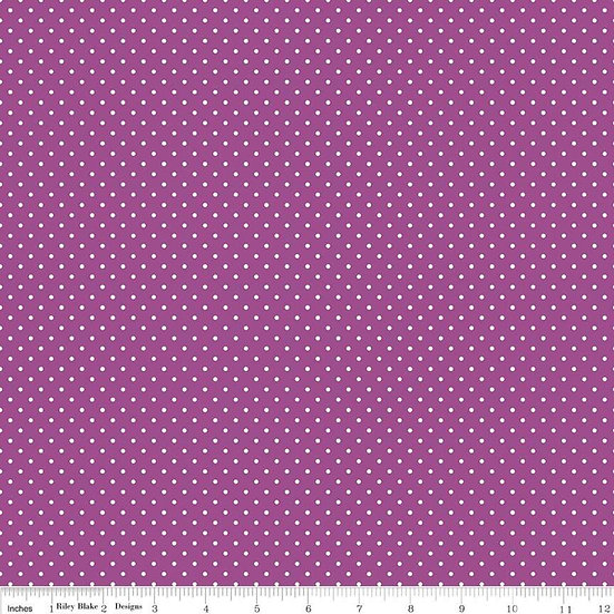 Swiss Dots White Dots on Purple Fabric by the Yard