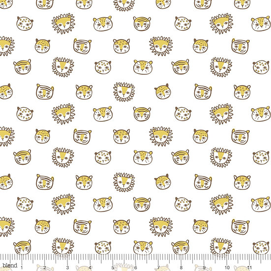 Feline Faces in White Fabric by the Yard