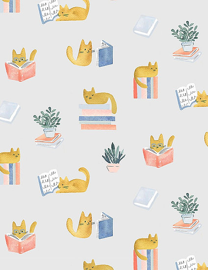 """Creative Cats """"Cat Library"""" for Dear Stella - Fabric by the Yard"""