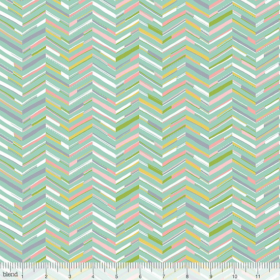 Painted Chevron in Aqua Fabric by the Yard