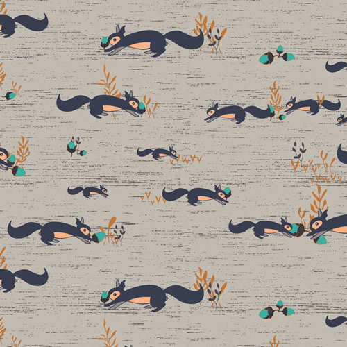 """Little Forester """"Squirrels At Play Forester"""" AGF - Fabric by the Yard"""