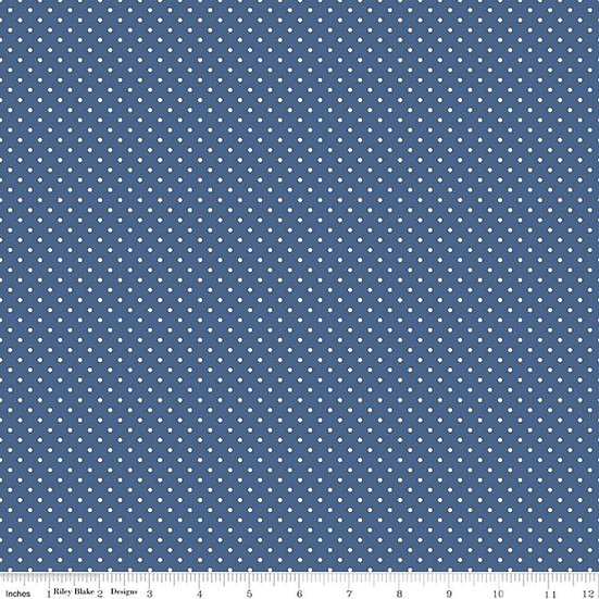 Swiss Dots White Dots on Denim Fabric by the Yard
