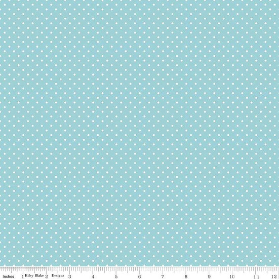 Swiss Dots White Dots on Aqua Fabric by the Yard