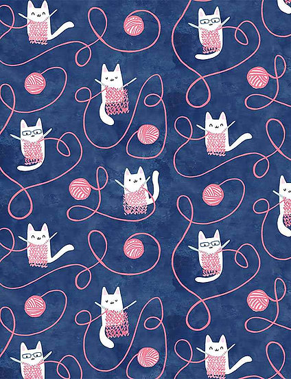 "Creative Cats ""Kitty Knitting"" for Dear Stella - Fabric by the Yard"
