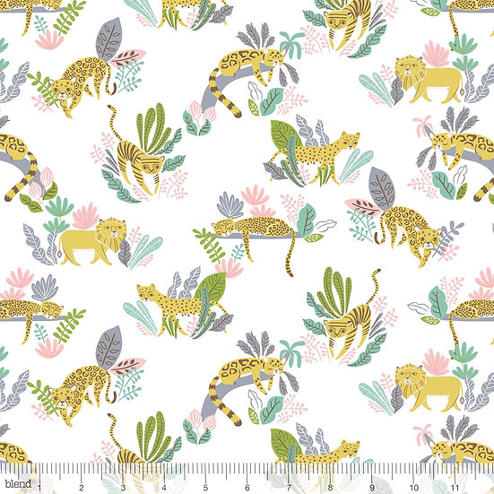 Wild Cats in White Fabric by the Yard