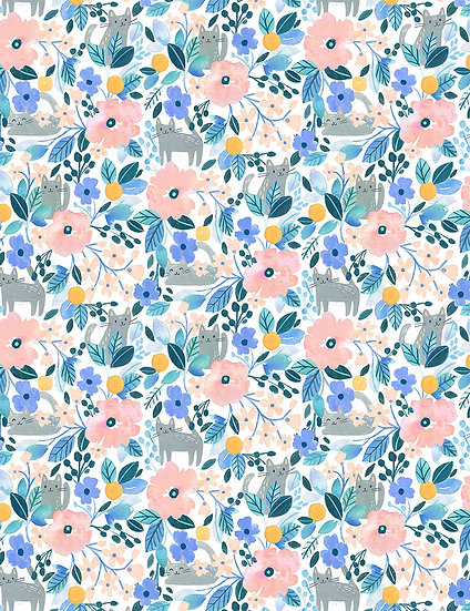 """Creative Cats """"Kitty Floral"""" for Dear Stella - Fabric by the Yard"""