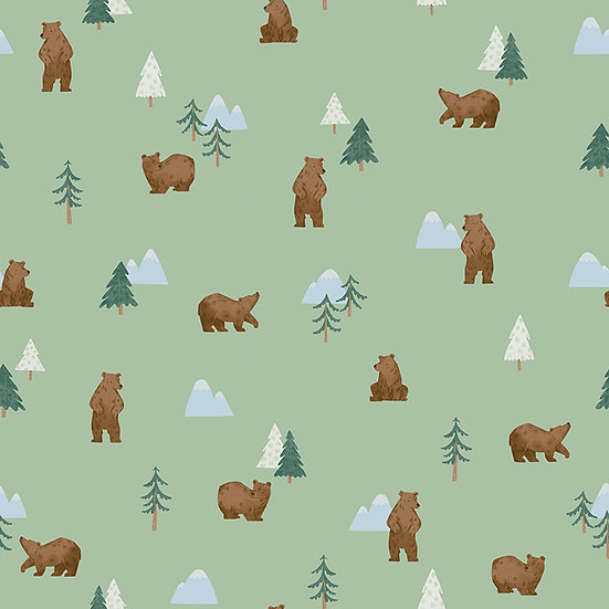"""Camp Woodland """"Grizzly Bears in Pistachio"""" for Riley Blake Designs"""