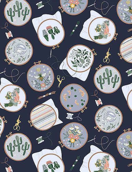 """Sew On & Sew Forth """"Embroidery Hoops"""" for Dear Stella - Fabric by the Yard"""