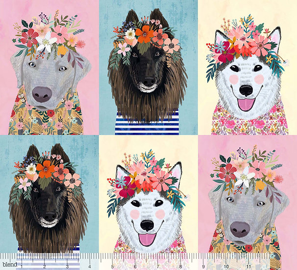 More Floral Puppies Panel by Mia Charro