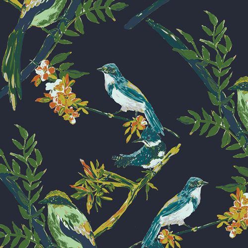 Bloomsbury Song Bird in Night Talks Designed by Bari J. Fabric by the Yard