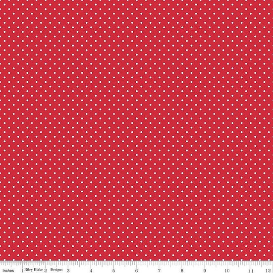 Swiss Dots White Dots on Red Fabric by the Yard