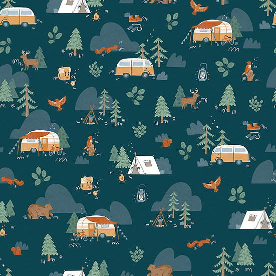 """Camp Woodland """"Main in Navy"""" for Riley Blake Designs"""