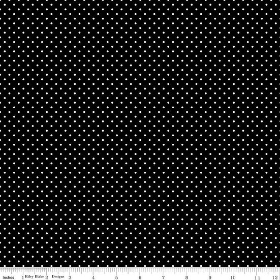 Swiss Dots White Dots on Black Fabric by the Yard