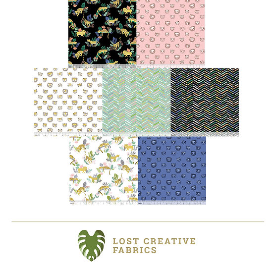 Lions and Tigers and More! by Katy Tanis Fat Quarter Bundle - 7 Pieces