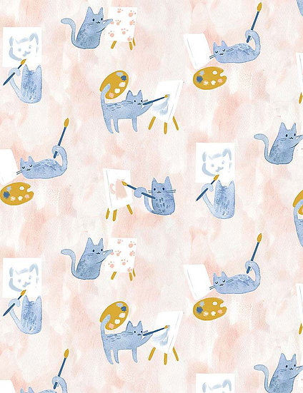"Creative Cats ""Painting Class"" for Dear Stella - Fabric by the Yard"