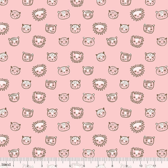 Feline Faces in Pink Fabric by the Yard