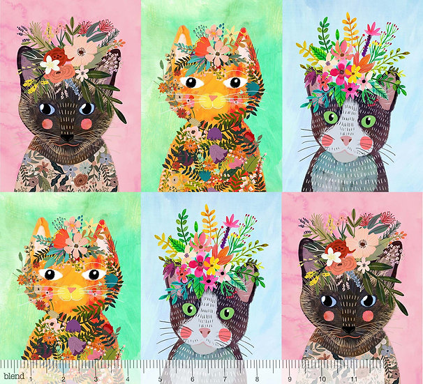 More Floral Kitties Panel by Mia Charro