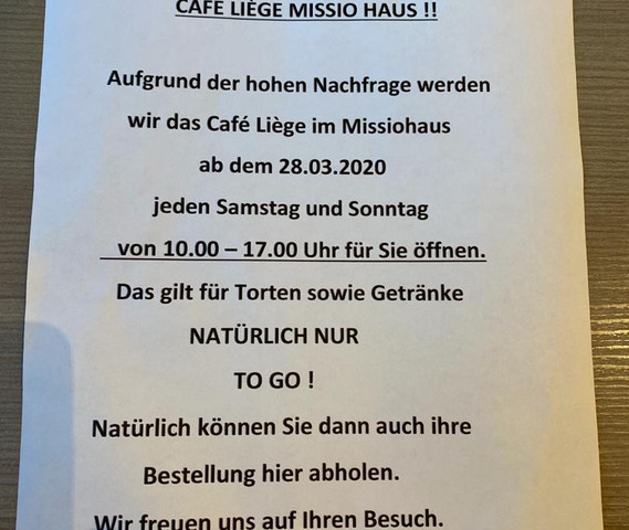 Neugkeiten vom Café Liège Missio Haus