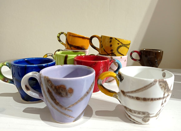 """Set of 4 coffee cups  """"Silly"""""""