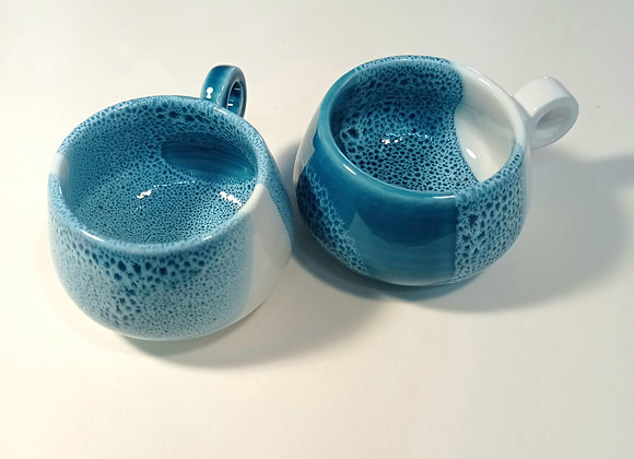 "Set of 4 coffee cups ""Blue bubble"""