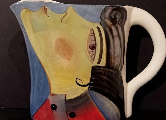 Original Pitcher with Face/ Brocca dipinta a mano con volto , pezzo unico