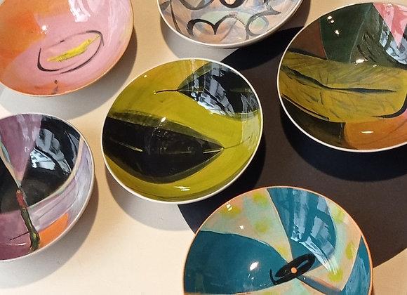 Set 6 ciotole coloratissime, pezzi unici. Diametro cm 16,  altezza cm 5