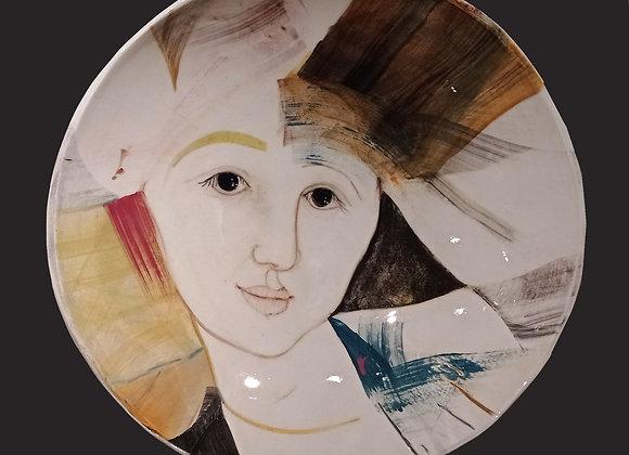 Large handmade painted plate / Grande piatto fatto a mano con volto. Pezzo unico