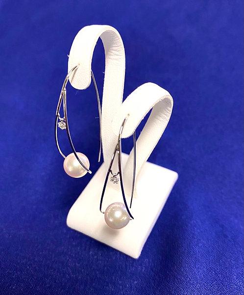 K18 white gold Akoya Pearl Earrings