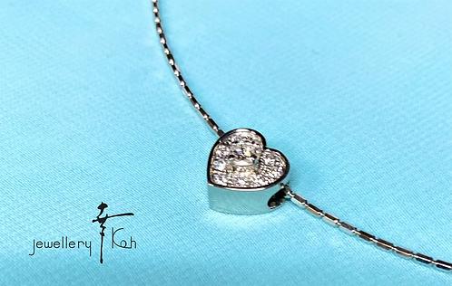 プラチナ900 ダイヤモンドハートペンダント